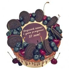 Торт с ягодами и Орео на день рождения для папы