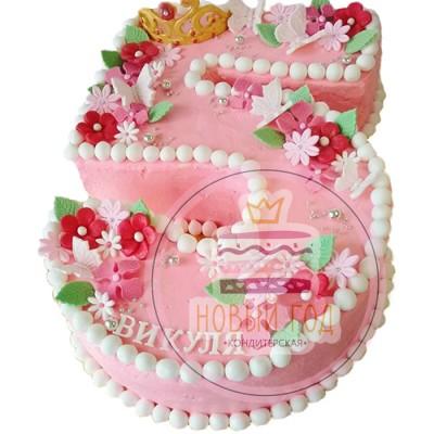 Торт в виде цифры 5 с короной