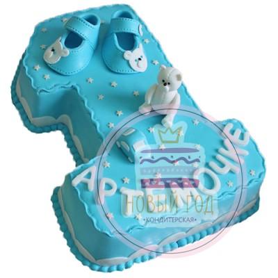 Голубой торт на 1 год для мальчика
