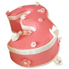 Торт в виде цифры 3 для девочки