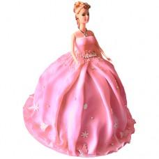 Торт с куклой в розовом платье
