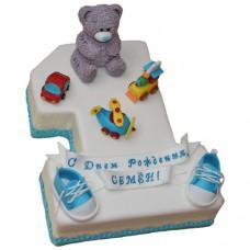 Торт в виде цифры 1 с медвежонком и пинетками