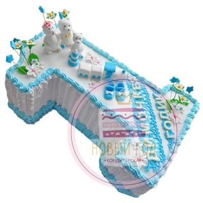 Торт-цифра 1 на день рождения мальчику