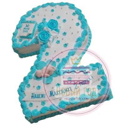 Кремовый торт с младенцем на 2 года