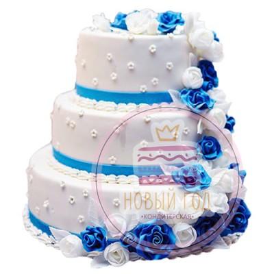 Свадебный торт в синих и голубых цветах