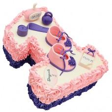 Торт кремовый в виде цифры 1 для девочки