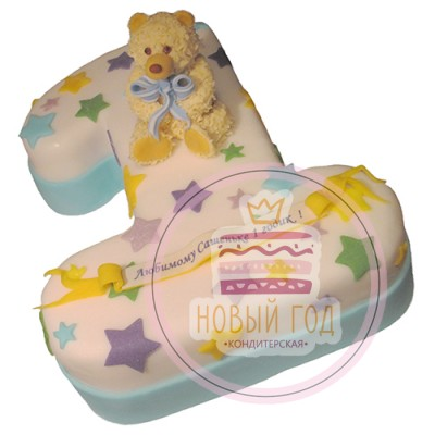 Торт в виде цифры 1 со звездами и медвежонком