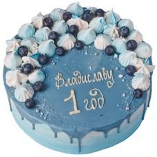 Торт на 1 год для мальчика с голубикой и безе