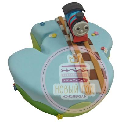 Торт в виде цифры 3 с голубым вагончиком