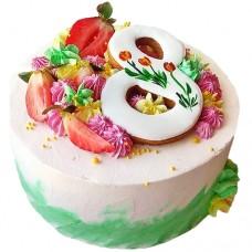 Торт к 8 марта с пряником и клубникой