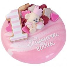 Зеркальный торт с медвежонком и сердцами