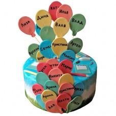 Торт на выпускной с именами на шариках