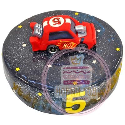 Космический торт с красной тачкой
