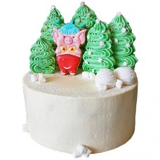 Торт со свиньей на Новый Год 2019