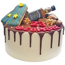 Торт с погонами и бутылочкой виски