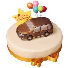 Торт с автомобилем «Мечты сбываются»