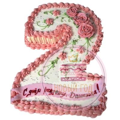 Кремовый торт с розами в виде цифры 2