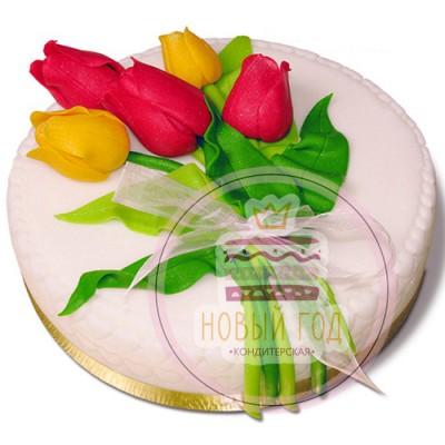 Торт «Букет тюльпанов»