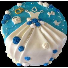 Торт со свадебным платьем и обручальными кольцами