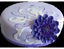 Торт с синей хризантемой и узорами
