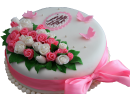 Юбилейный торт с надписью, розами и бантом
