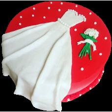 Торт с платьем невесты и букетом