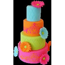 Четырёхъярусный разноцветный торт