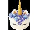 Торт в виде единорога с золотым рогом