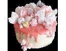Торт с цифрой 1, безе и подтеками глазури
