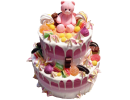 Двухъярусный торт с мишкой и сладостями