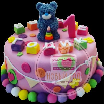 Торт на 1 год с мишкой и кубиками