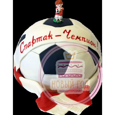 Торт в виде футбольного мяча с шарфом