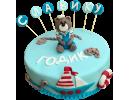 Торт на 1 годик с медвежонком и корабликом