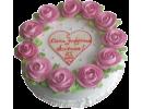 Торт с венком из роз и надписью