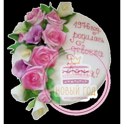 Торт с розами и каллами