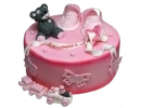 Торт на годик с пинетками и медвежонком