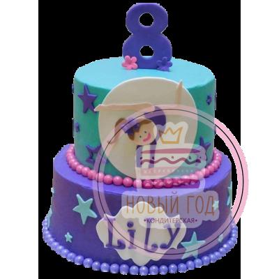 Торт с гимнасткой и звёздочками