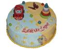 Торт с красной машиной для самых маленьких