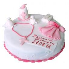 Торт на крестины для девочки с голубками
