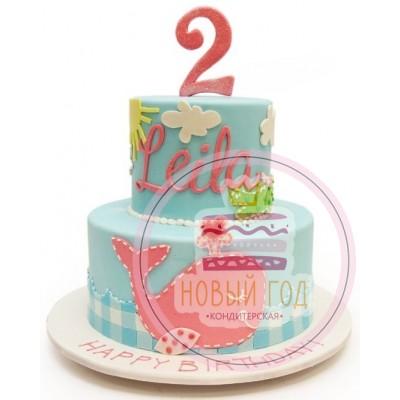 Торт с розовым китом