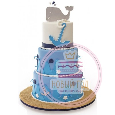 Торт с китом и якорем