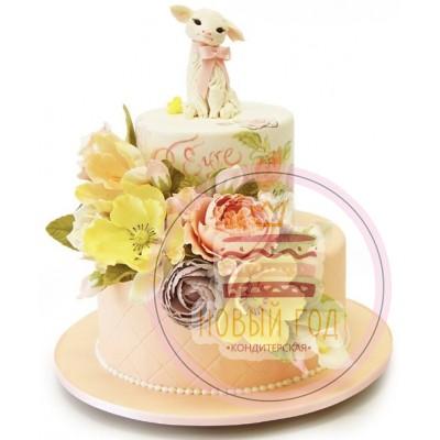 Торт с овечкой и цветами
