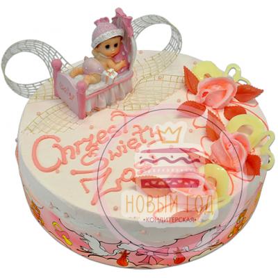 Торт с колыбелью и малышом