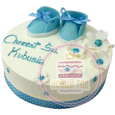 Торт с голубыми пинетками