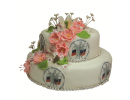 Корпоративный торт с логотипом и цветами