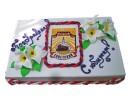 Торт с логотипом и цветами