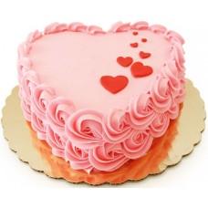 Торт в виде розового сердца