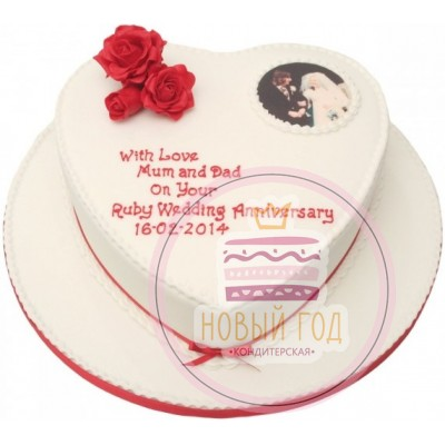 Торт-сердце на годовщину свадьбы
