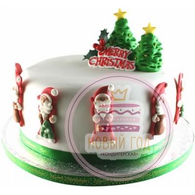 Торт с ёлками и Сантами