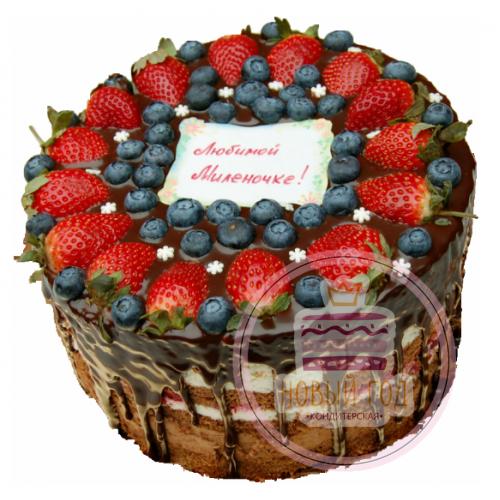 Торт с ягодами сверху декор рецепт фото